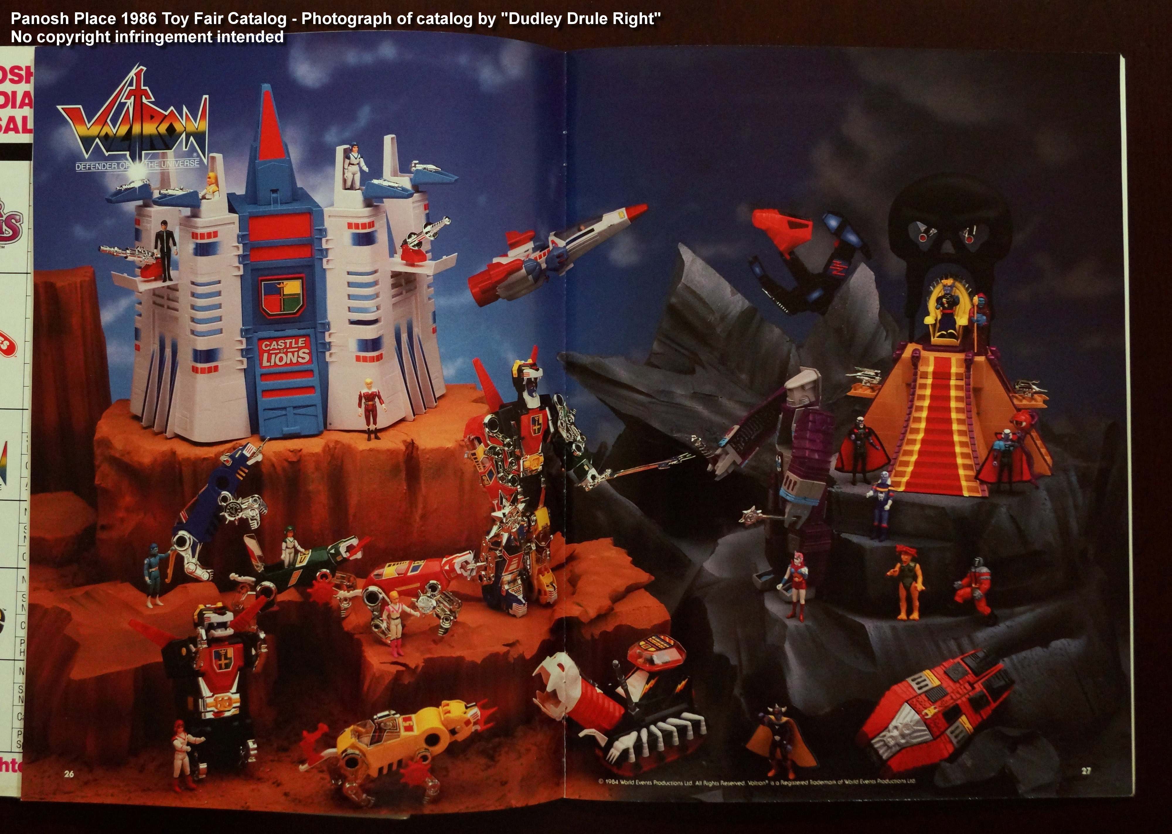 Panosh Place 1986 Toy Fair Catalog - Pages 26 and 27 (All 1986 Voltron toys)