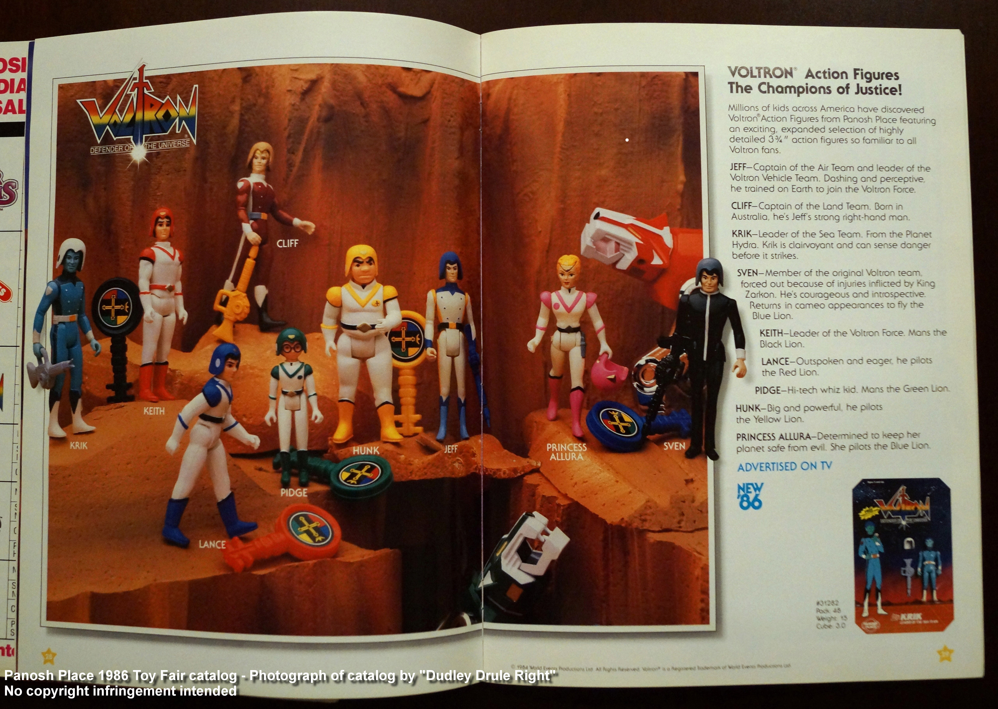 Panosh Place 1986 Toy Fair Catalog - Pages 28 and 29 (Voltron Champions of Justice action figures)