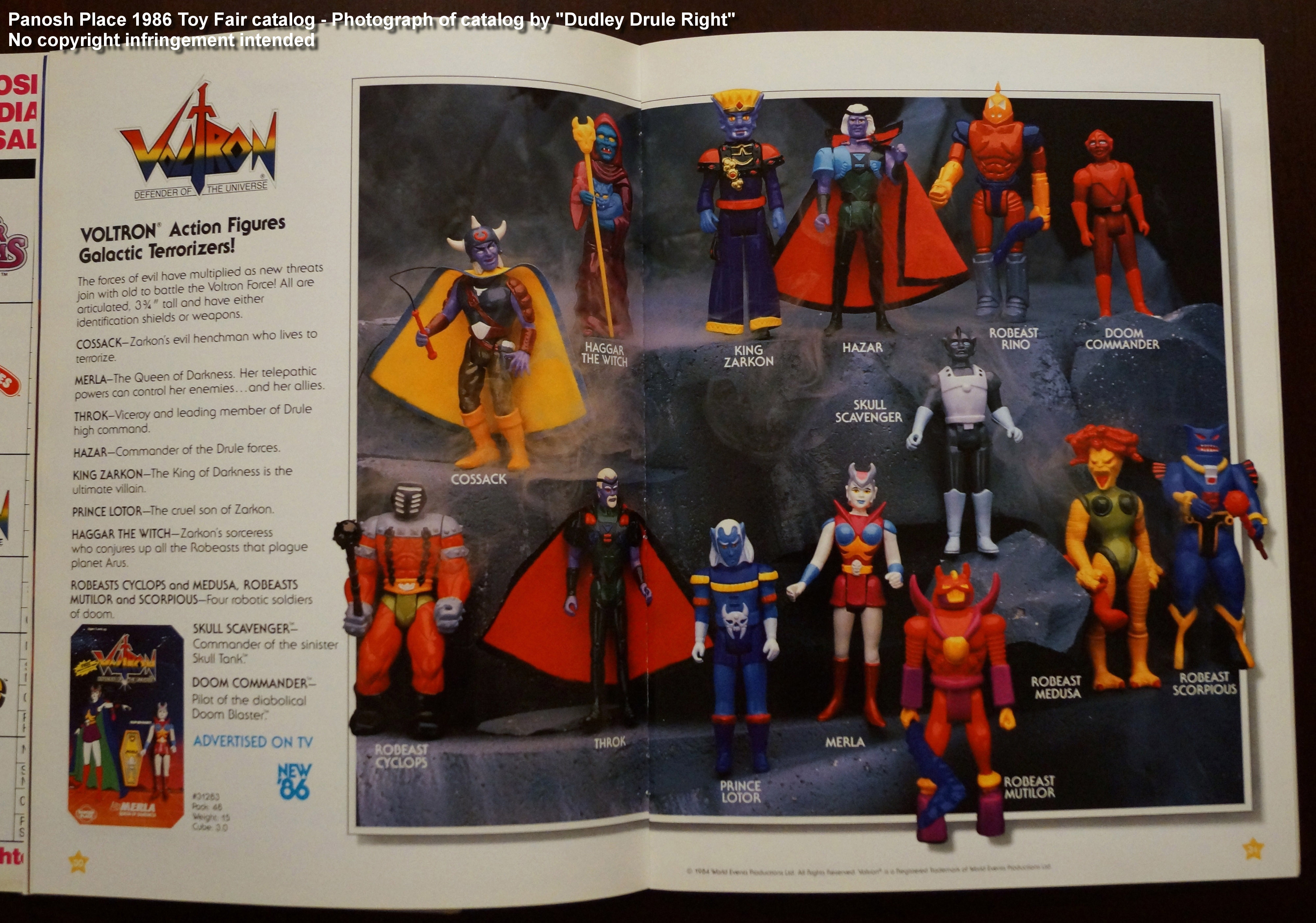 Panosh Place 1986 Toy Fair Catalog - Pages 30 and 31 (Voltron Galactic Terrorizers action figures)