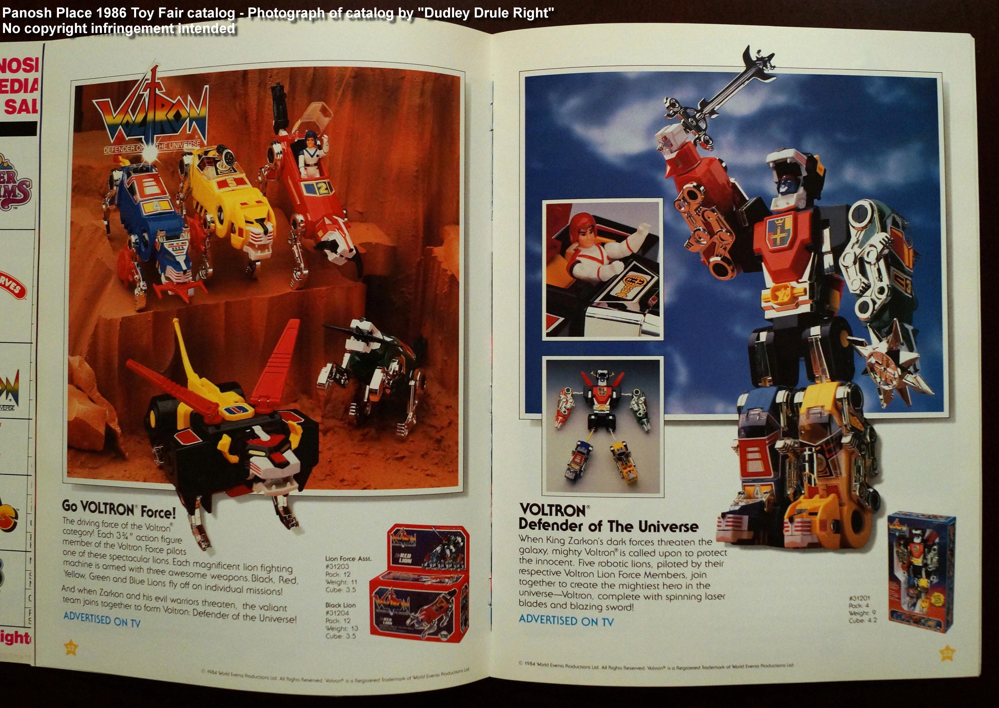 Panosh Place 1986 Toy Fair Catalog - Pages 32 and 33 (Voltron Lion Force, Voltron Defender of the Universe)