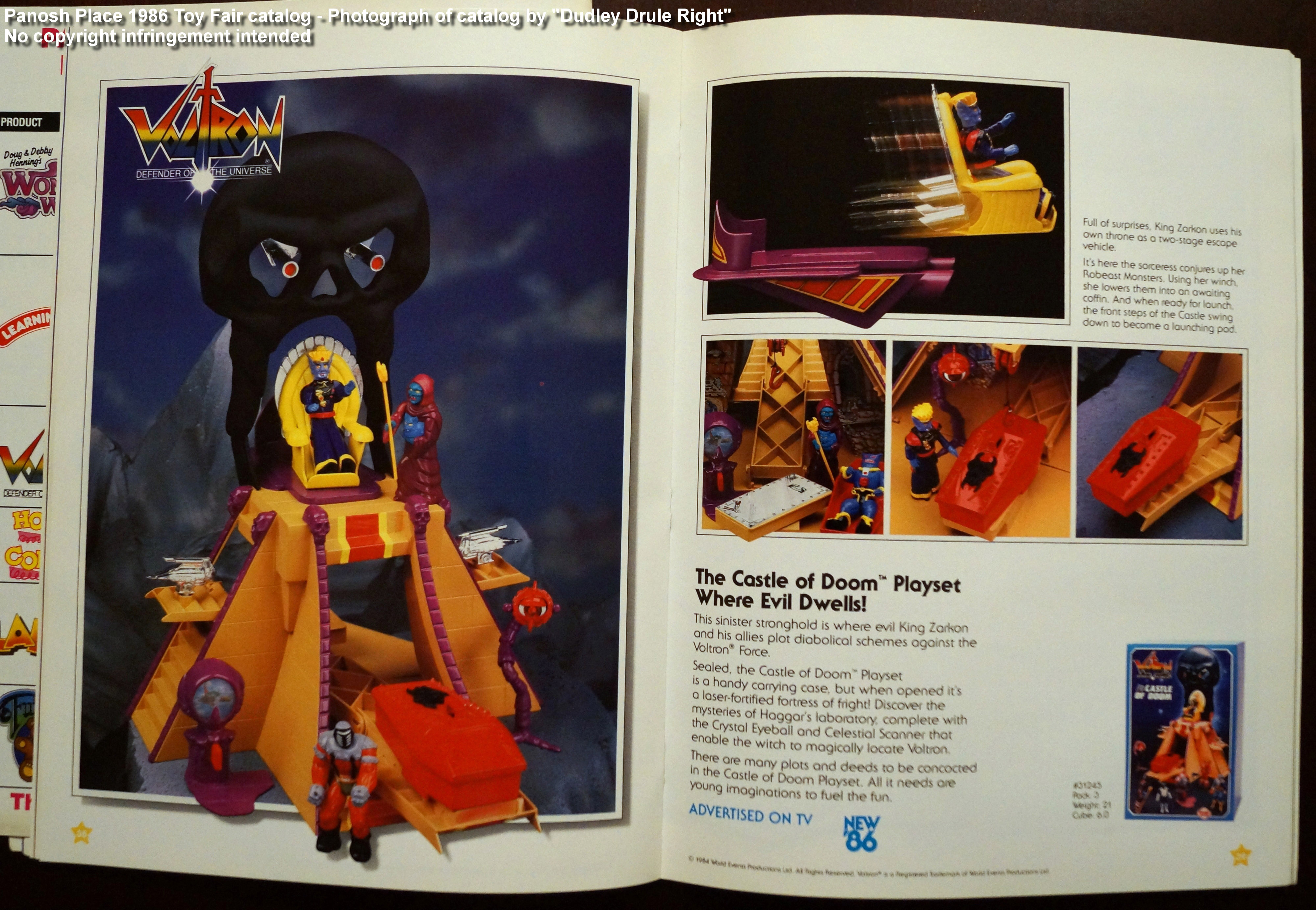Panosh Place 1986 Toy Fair Catalog - Pages 38 and 39 (Voltron Castle of Doom)