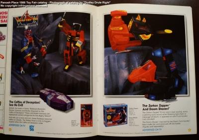 Panosh Place 1986 Toy Fair Catalog - Pages 34 and 35 (Voltron Coffins of Deception, Zarkon Zapper, Doom Blaster)