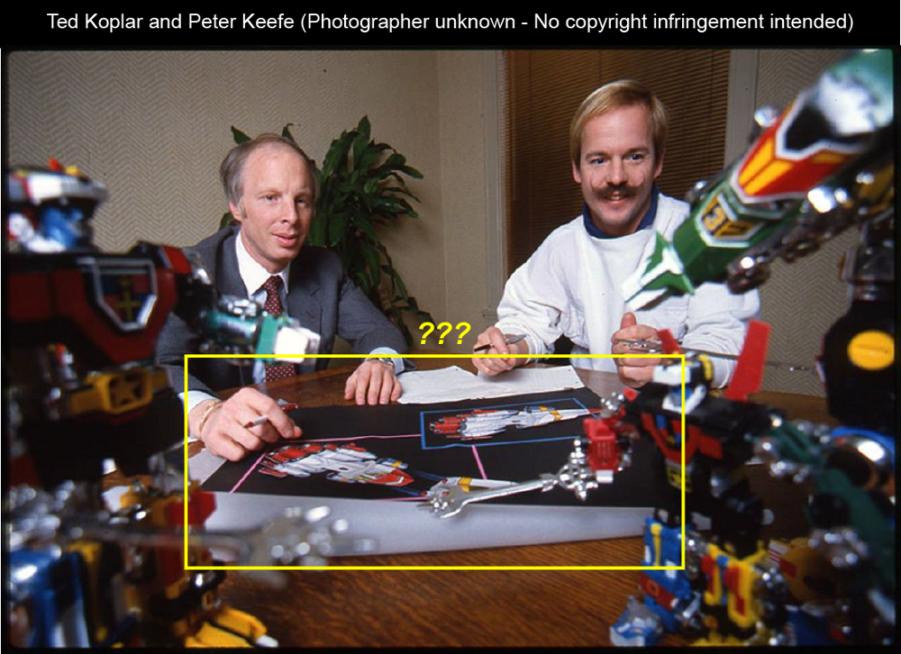 Ted Koplar and Peter Keefe, surrounded by Voltron toys